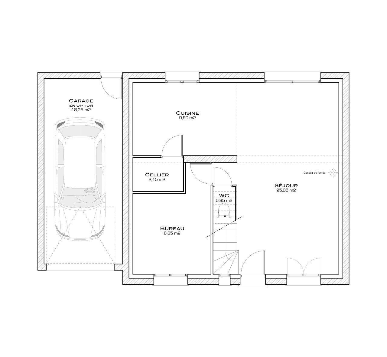 Plan chambre parentale avec salle de bain et dressing of for Amenagement salle de bain dressing