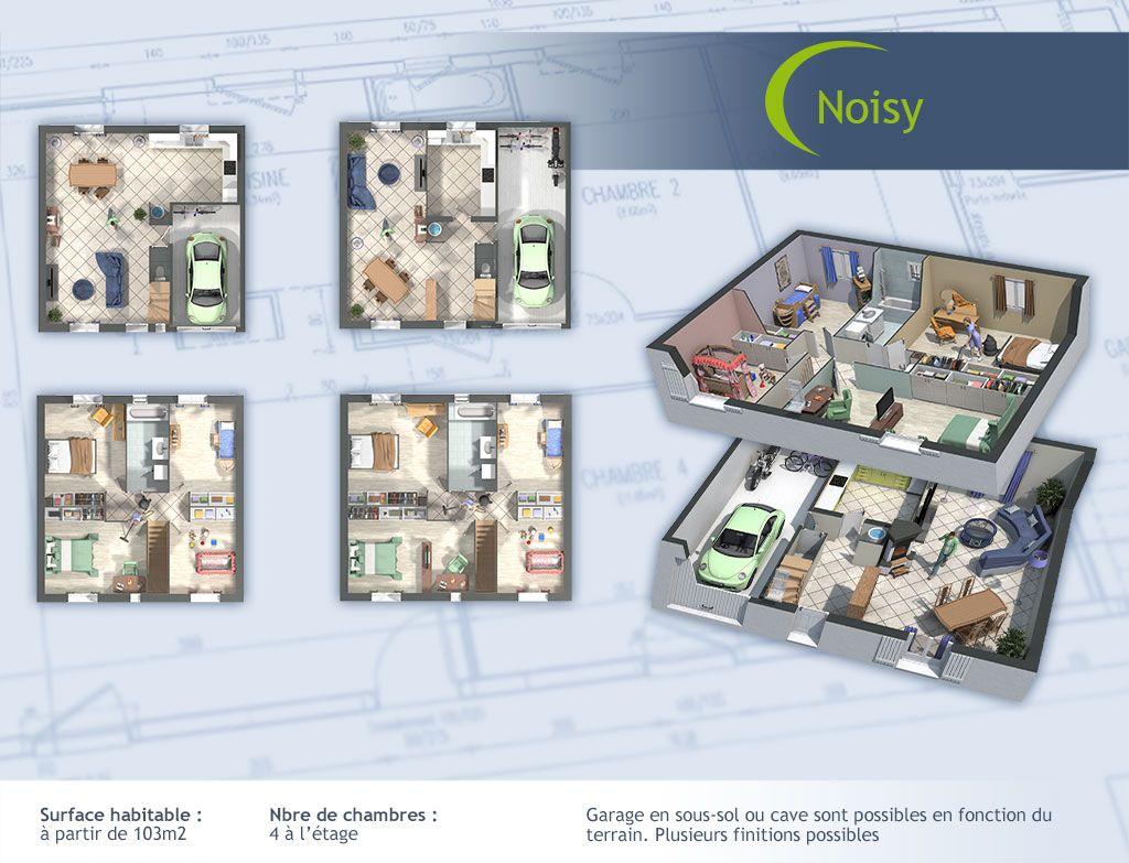 Le modèle de base comporte 4 chambres indépendantes situées à létage pour plus de tranquillité ainsi quune salle de bain et des espaces de vie commune