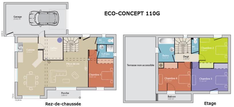 Mod le eco concept 110g des maisons france confort ma future maison - Nombre de piece maison ...