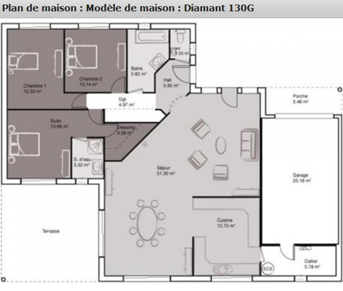Mod le diamant des maisons balency ma future maison for Plan de comble amenageable