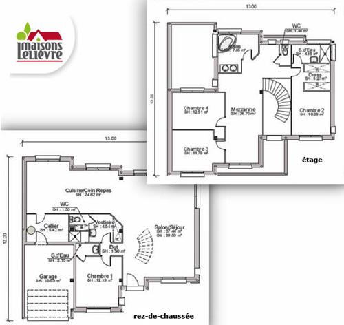 plan maison 2 niveaux