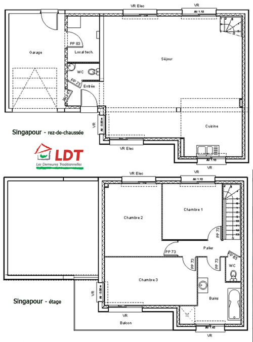 plan de maison à deux niveaux