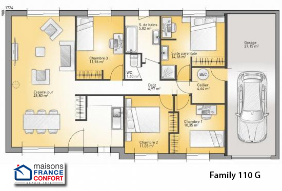 Good seniors maisons faire construire dans la r gion midi for plan de maison style americain with plan maison 6 chambres