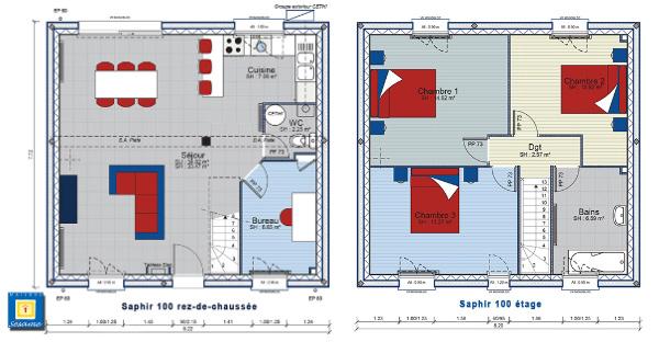 a ltage - Plan Maison Etage 4 Chambres 1 Bureau