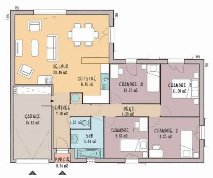 Plan amateur de maison de 3 chambres bureau garage for Plan maison simple 4 chambres