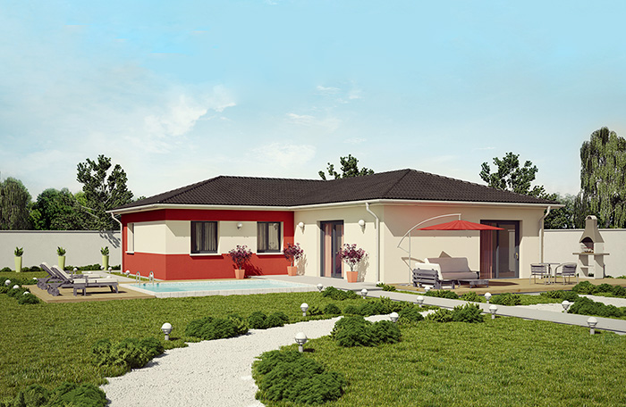 Plan maison plain pied 140m2 plan au sol plan de maison for Maison contemporaine 140m2