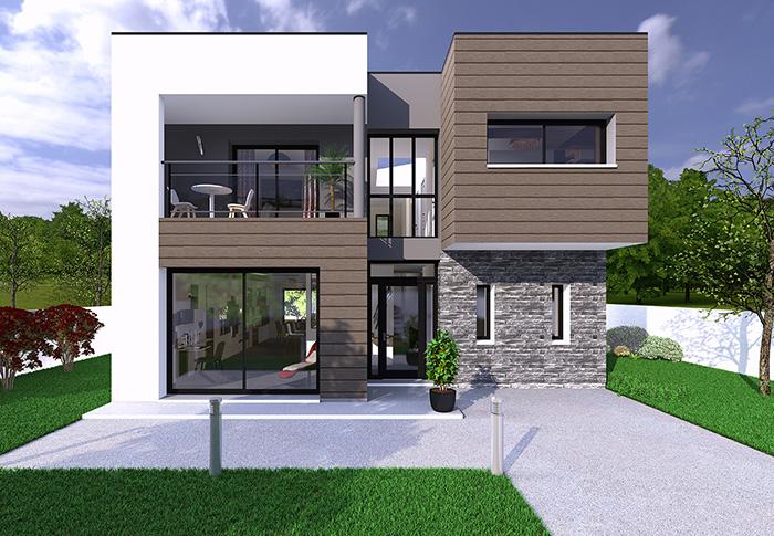 Simple verre et mtal pour ce modle with modele de facade for Modele de facade de maison
