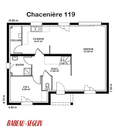 Mod le et plans chaceniere du constructeur maisons babeau for Plan maison babeau seguin