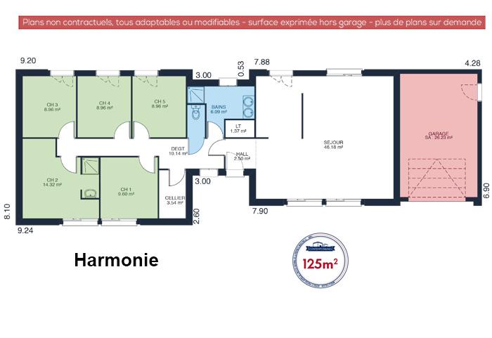 Mod le et plans harmonie du constructeur maisons babeau for Plan maison babeau seguin