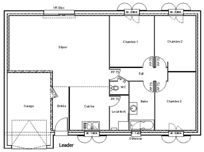 Mod le et plans leader du constructeur maisons ldt for Plan maison 90m2