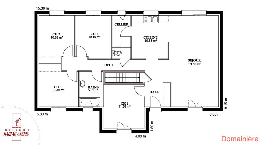 Mod le et plans domainiere du constructeur maisons babeau for Plan maison babeau seguin