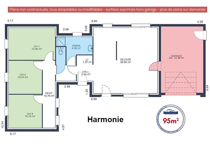 mod le et plans harmonie du constructeur maisons babeau seguin. Black Bedroom Furniture Sets. Home Design Ideas