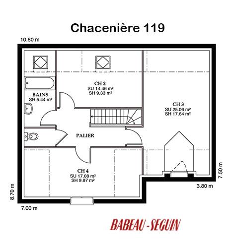 Mod le et plans chaceniere du constructeur maisons babeau for Modele maison babeau seguin